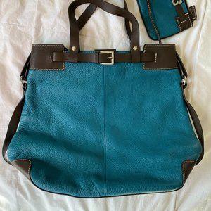 Levenger Blue Leather Large Handbag Tote